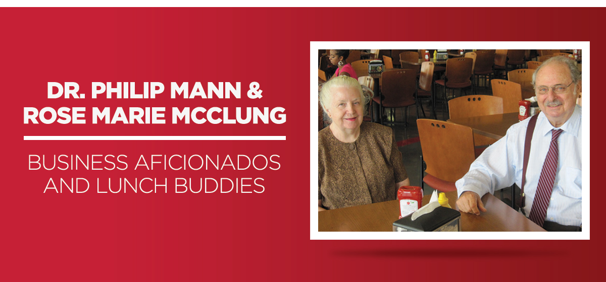 Dr. Philip Mann and Rose Marie McClung - business aficionados and lunch buddies