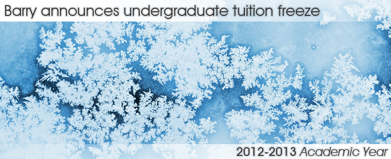 Barry announces undergraduate tuition freeze for 2012-2013 academic year