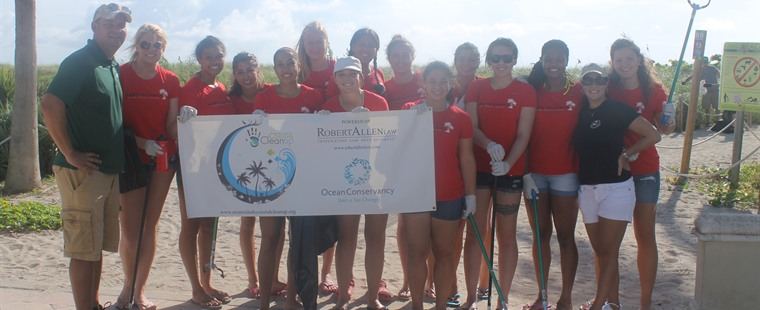 Volleyball Participates in Beach Cleanup