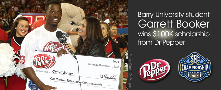 Barry student Garrett Booker wins $100K scholarship from Dr. Pepper