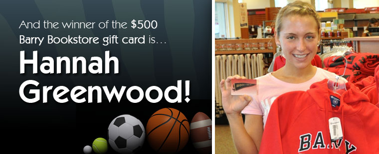 Hannah Greenwood wins $500 Barry Bookstore gift card