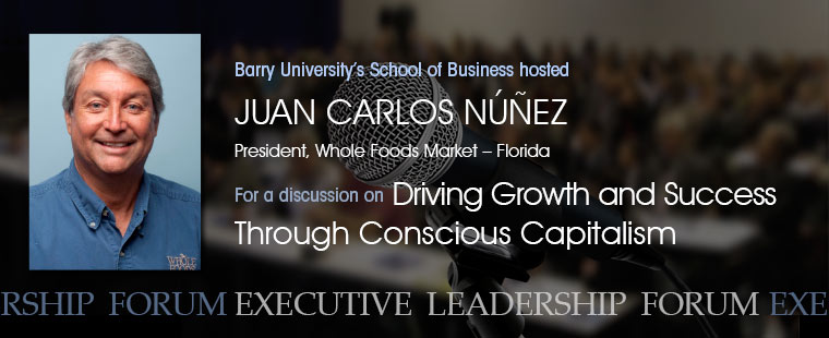 Juan Carlos Núñez, president of Whole Foods Market in Florida speaks to Business students