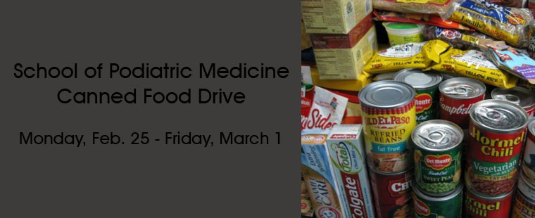 School of Podiatric Medicine hosts canned food drive