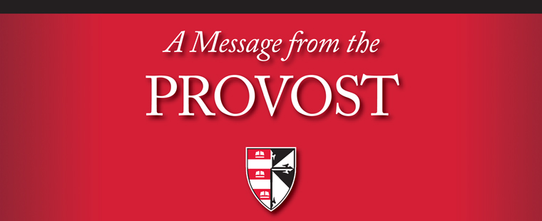 A message from the Provost
