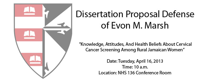 Dissertation Proposal Defense of Evon M. Marsh