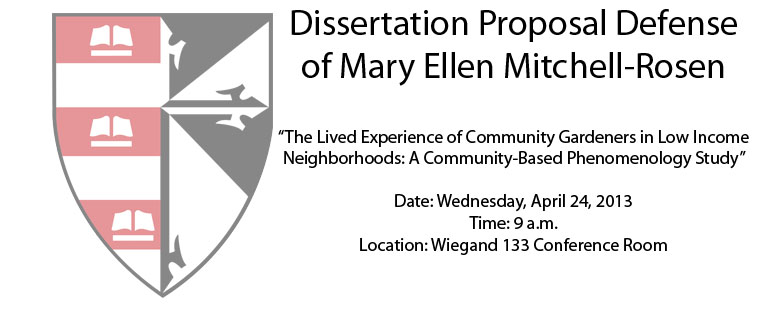 Dissertation Proposal Defense of Mary Ellen Mitchell-Rosen