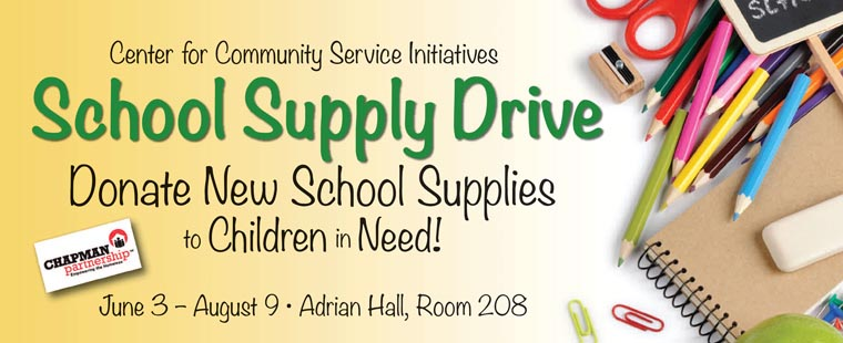 Donate new school supplies to children in need
