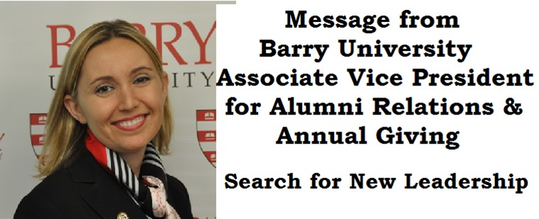 Message from Barry University Associate Vice President for Alumni Relations & Annual Giving