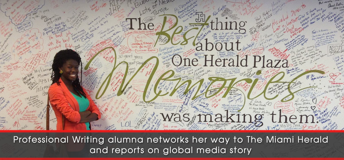Professional Writing alumna networks her way to The Miami Herald and reports on global media story