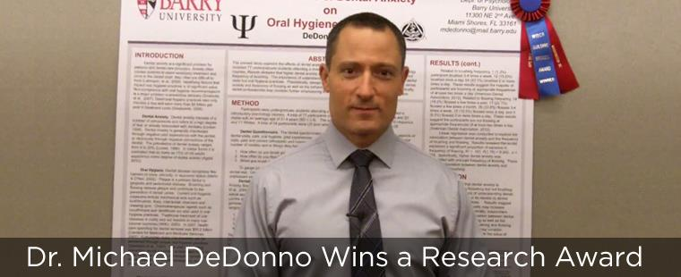 Dr. Michael DeDonno Wins a Research Award