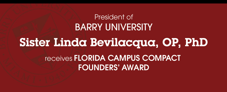 Sister Linda Bevilacqua receives Florida Campus Compact Founders' Award