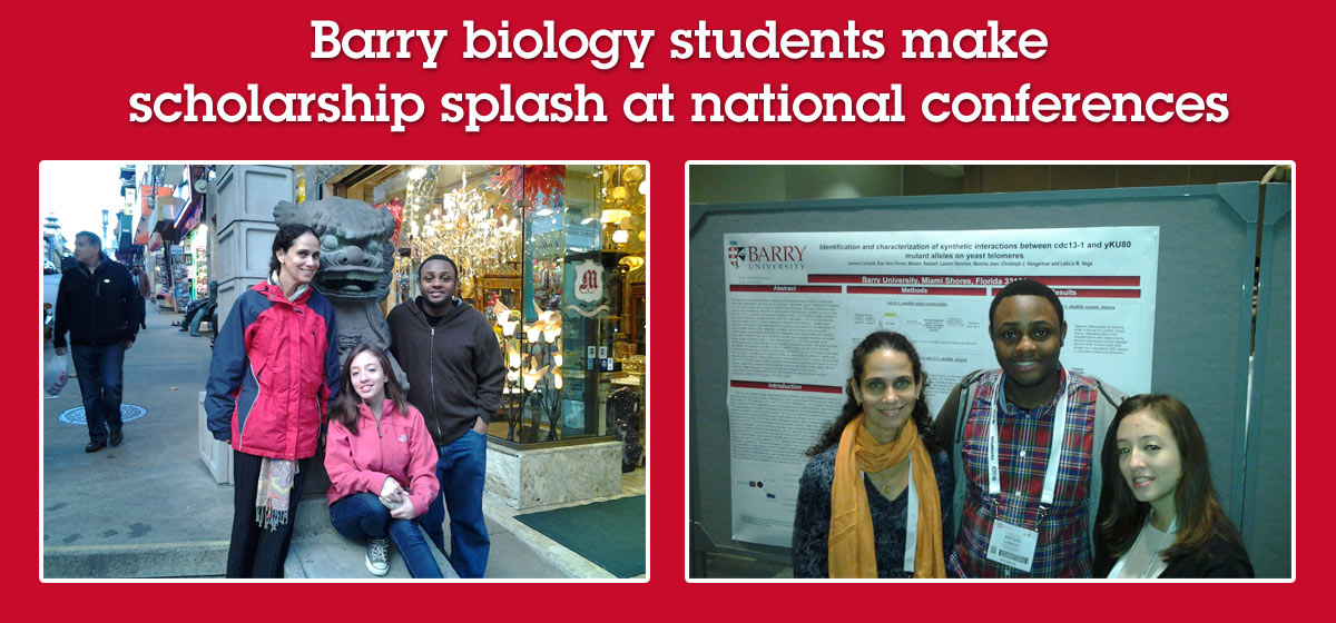 Barry biology students make scholarship splash at national conferences