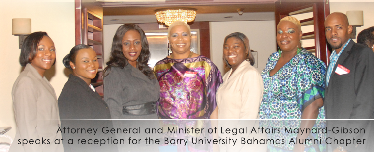 Attorney General and Minister of Legal Affairs, Senator Allyson Maynard-Gibson was the keynote speaker at a reception for the Barry University Bahamas Alumni Chapter