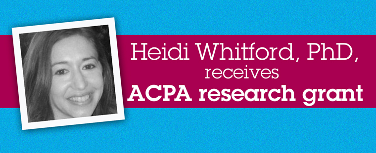 Dr. Heidi Whitford receives ACPA research grant