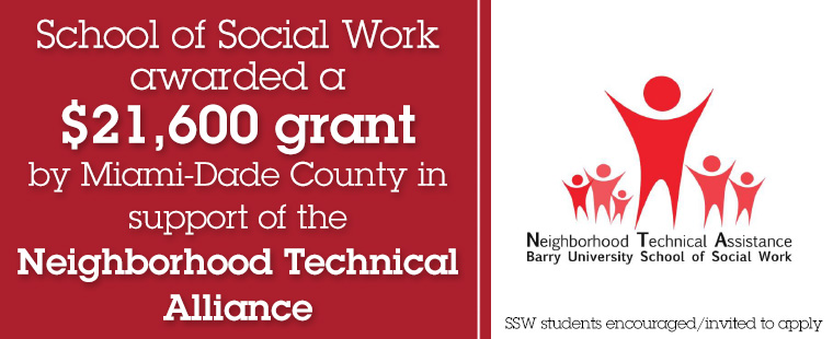 School of Social Work awarded $21,600 by Miami-Dade County in support of the Neighborhood Technical Assistance Grant