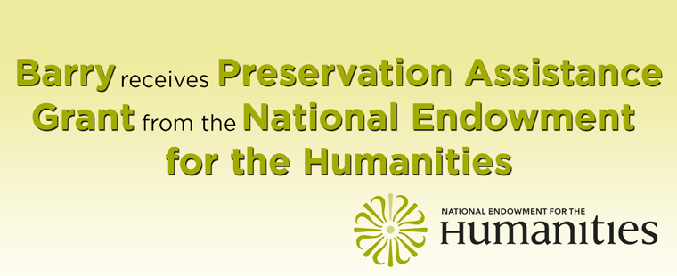 Barry receives NEH Preservation Assistance Grant