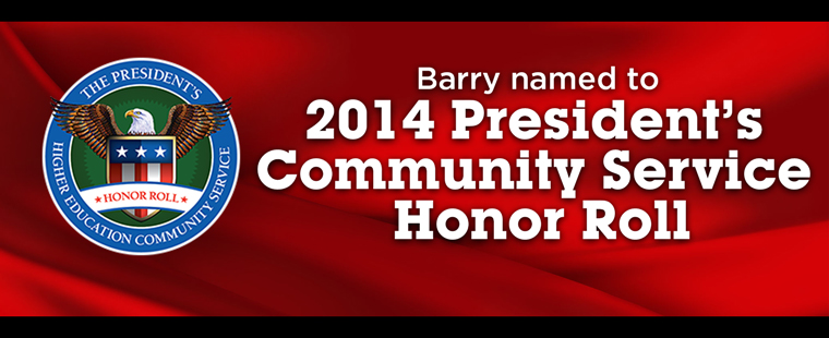 Barry University named to 2014 President's Community Service Honor Roll