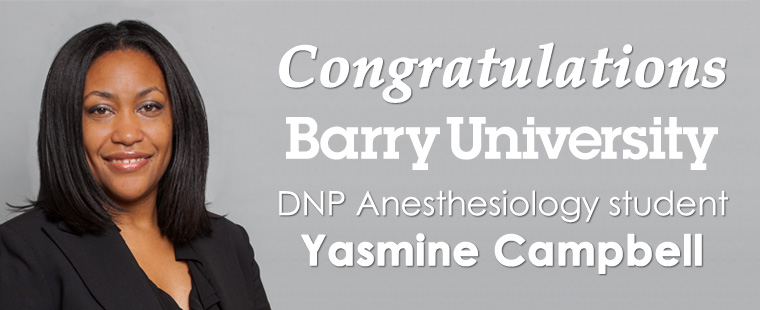 Congratulations Anesthesiology student Yasmine Campbell