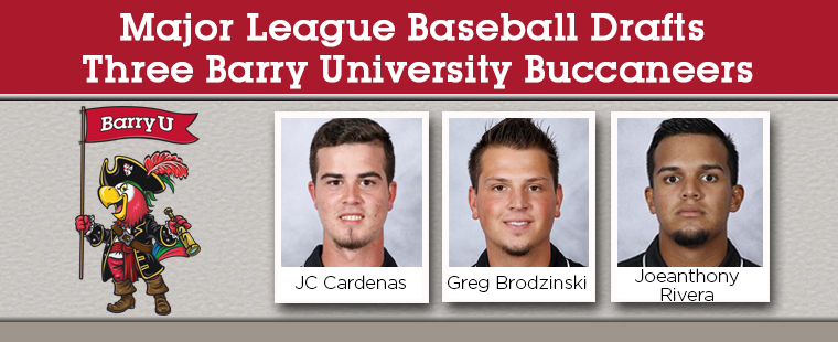 Major League Baseball Drafts Three Barry University Buccaneers