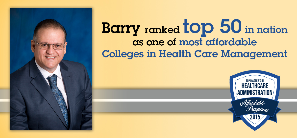 Barry ranked top 50 in nation affordable Colleges in Health Care Management