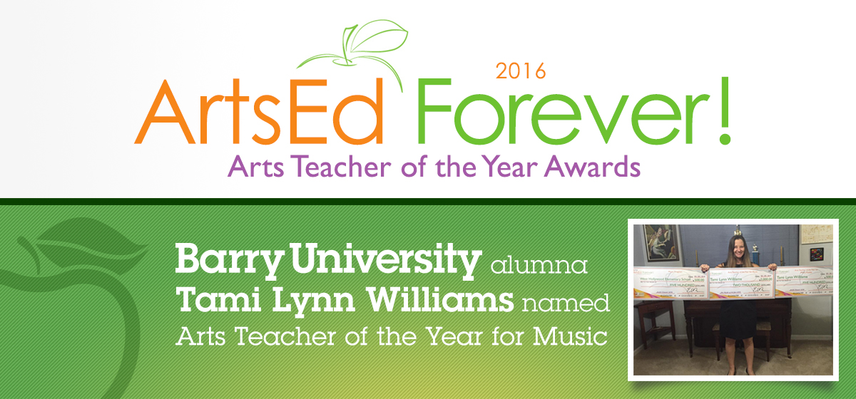 Barry University alumna Tami Lynn Williams named Arts Teacher of the Year for Music