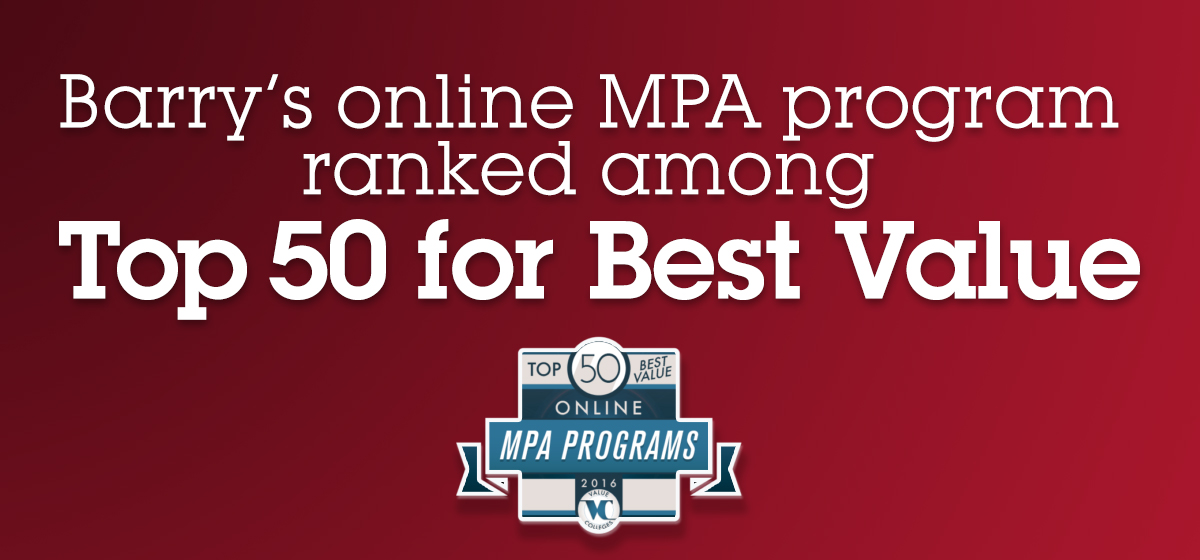 Barry's online MPA program ranked among Top 50 for Best Value