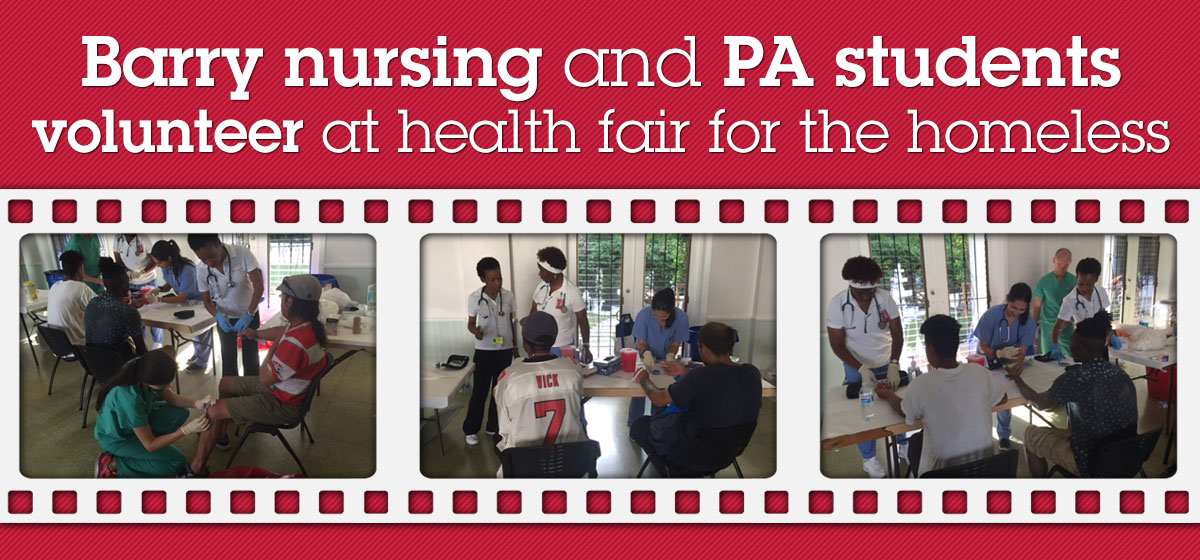 Barry nursing and PA students volunteer at health fair for the homeless