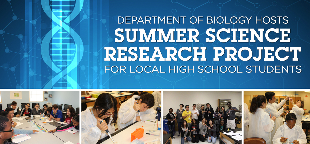 Department of Biology hosts Summer Science Research Project for local high school students