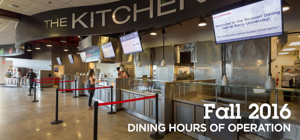 Fall 2016 Dining Hours of Operation