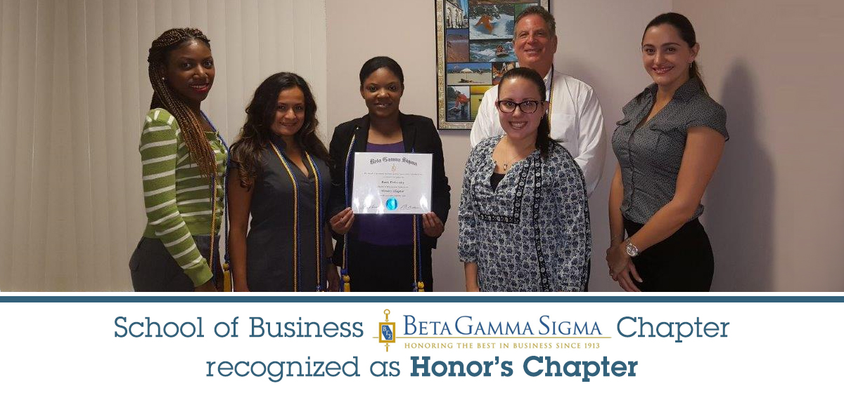 School of Business Beta Gamma Sigma Chapter recognized as Honor's Chapter