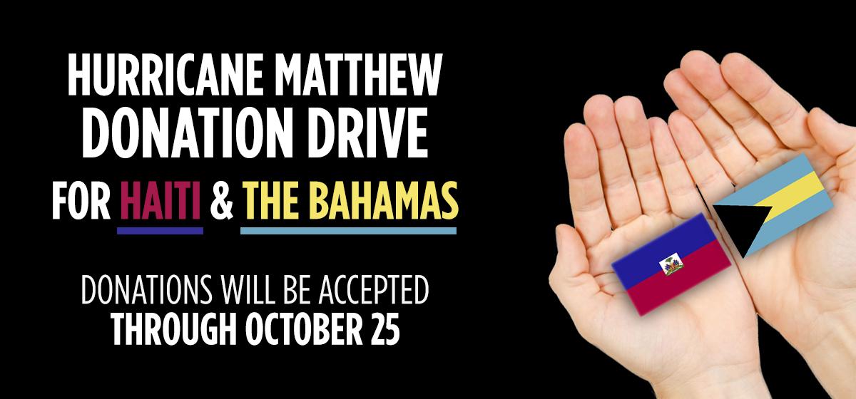 Hurricane Matthew Donation Drive for Haiti & The Bahamas