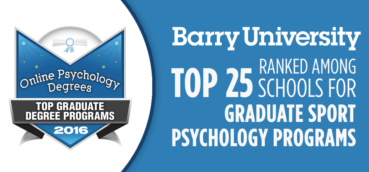 Barry ranked among top 25 schools for graduate sport psychology programs
