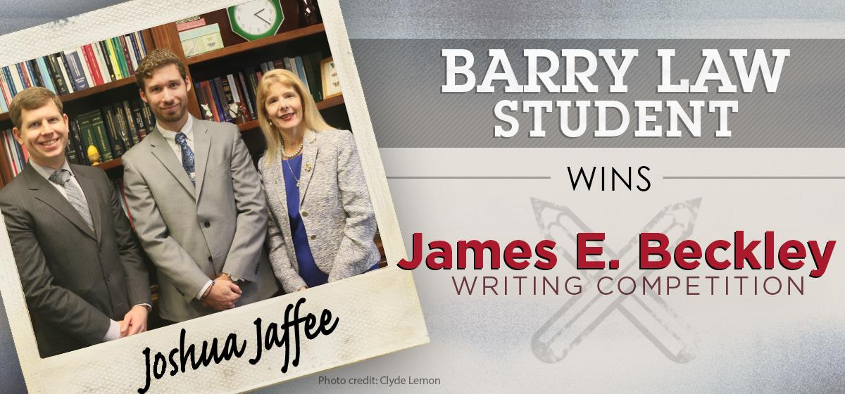 Barry Law Student Wins First Place in James E. Beckley Writing Competition
