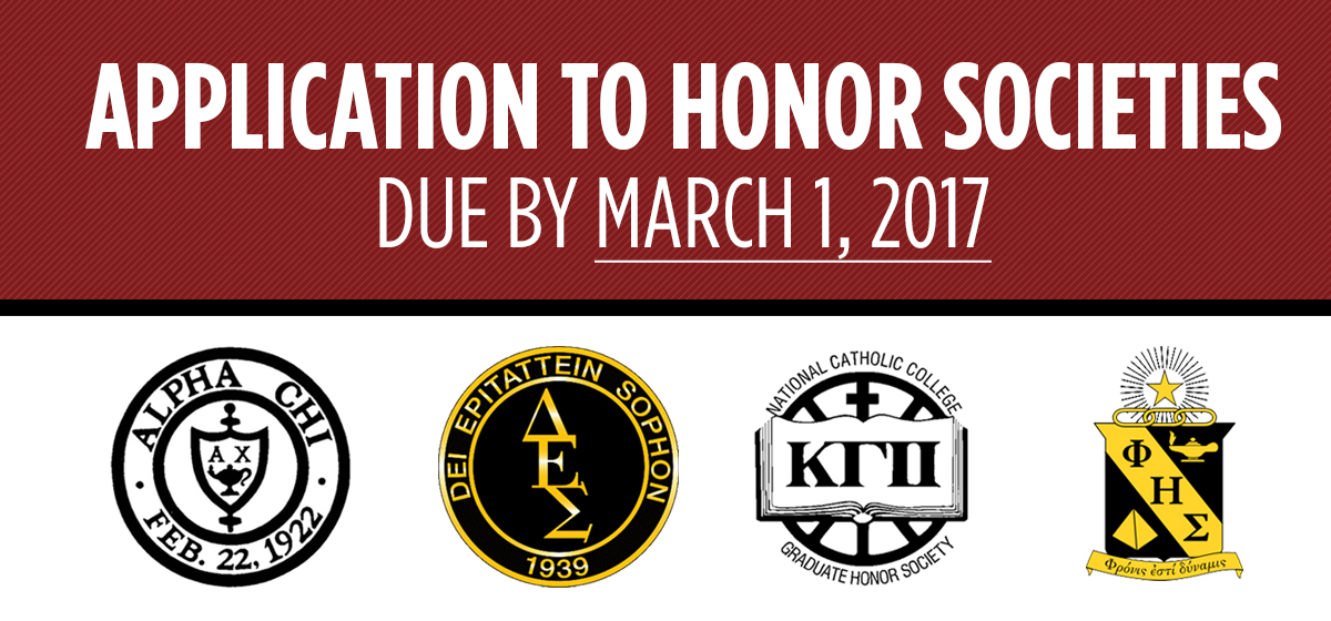 Application to Honor Societies due by March 1, 2017