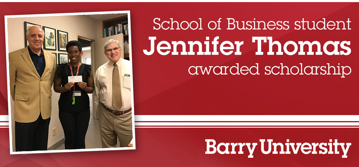 School of Business student Jennifer Thomas awarded scholarship