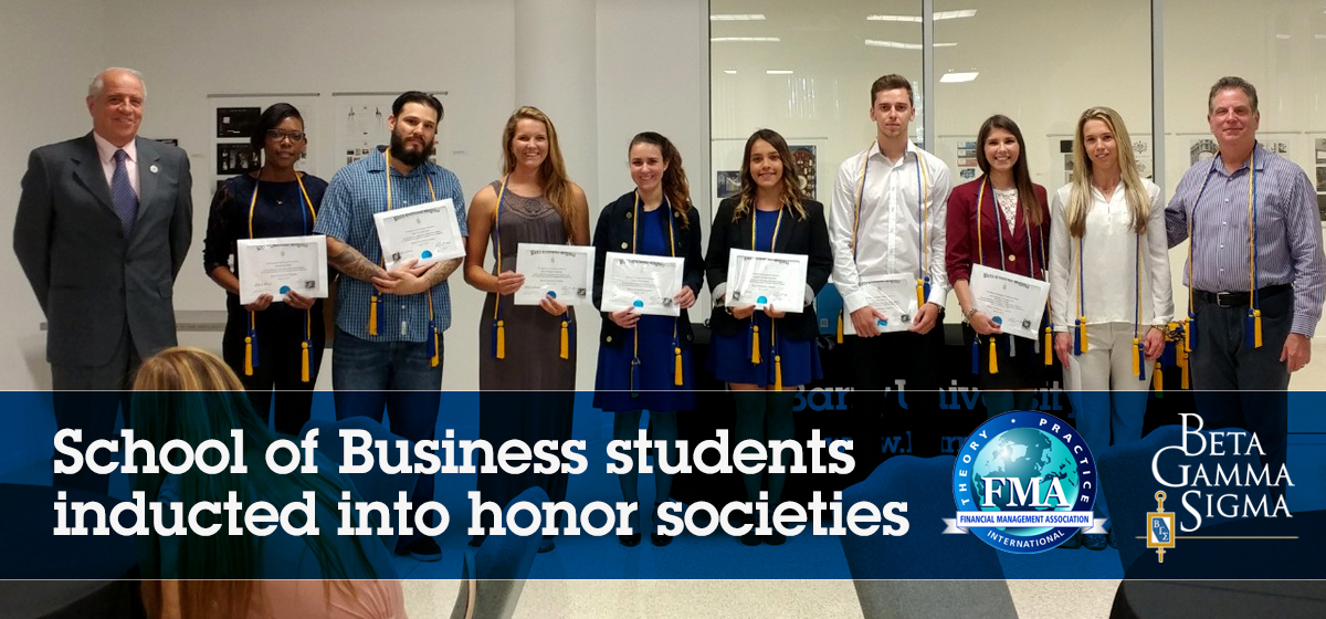School of Business students inducted into honor societies