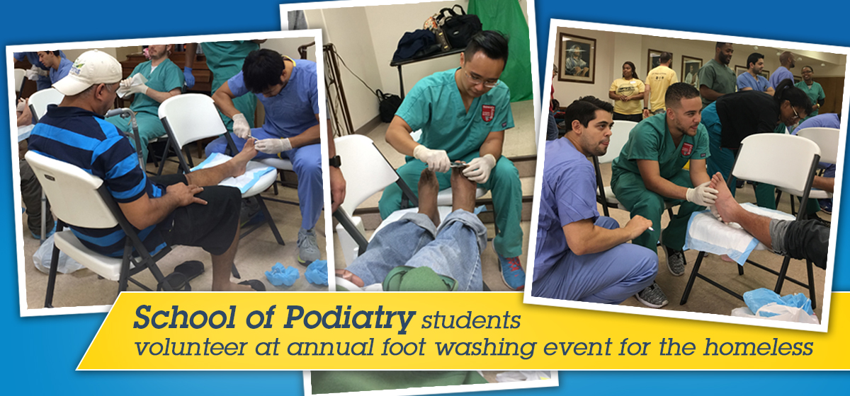 School of Podiatry students volunteer at annual foot washing event for the homeless