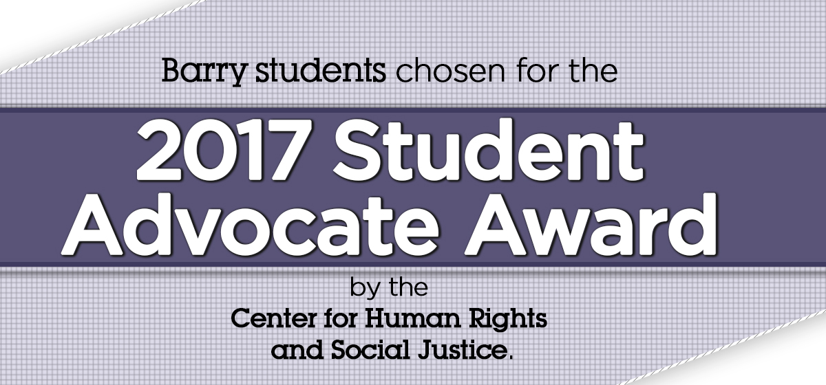 The CHRSJ announce the Student Advocate Award Winners