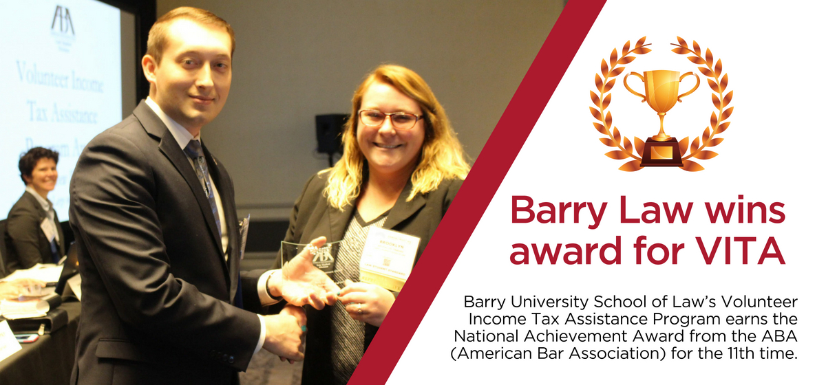 Barry Law's VITA program wins ABA Achievement Award for 11th time