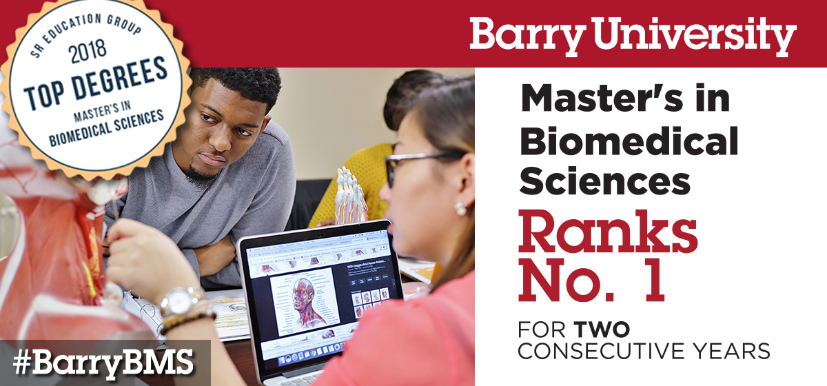 Barry University's Master of Biomedical Sciences Program ranked No. 1 two years in a row