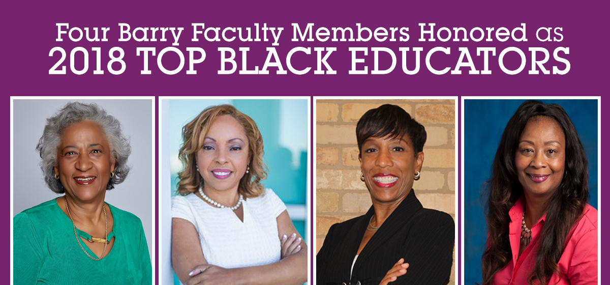 Four Barry faculty members honored as 2018 Top Black Educators