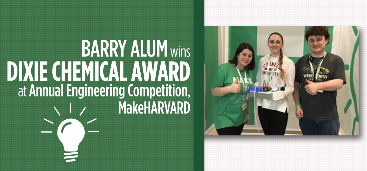 Barry Student Attends MakeHarvard and Brings Home a Dixie Chemical Award