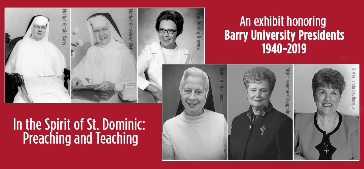 An exhibit honoring Barry University Presidents