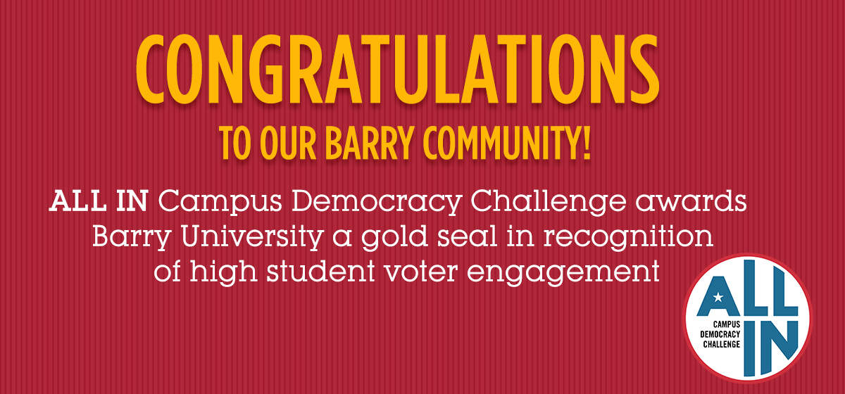 Barry Among Universities Getting the Gold for Student Voter Engagement in Last Midterm Elections