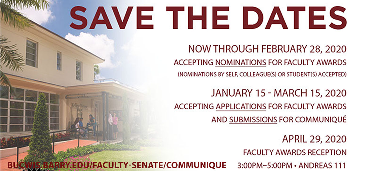 Submit Nominations and Applications for the Communique' Faculty Awards and Newsletter.