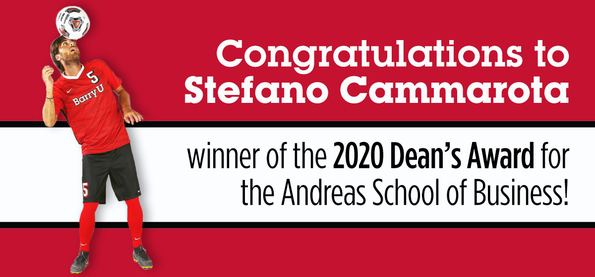 The 2020 Dean's Award for the Andreas School of Business goes to Stefano Cammarota!