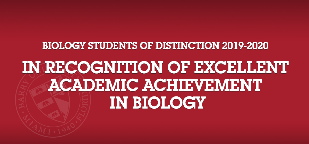 Biology Students of Distinction 2019-2020