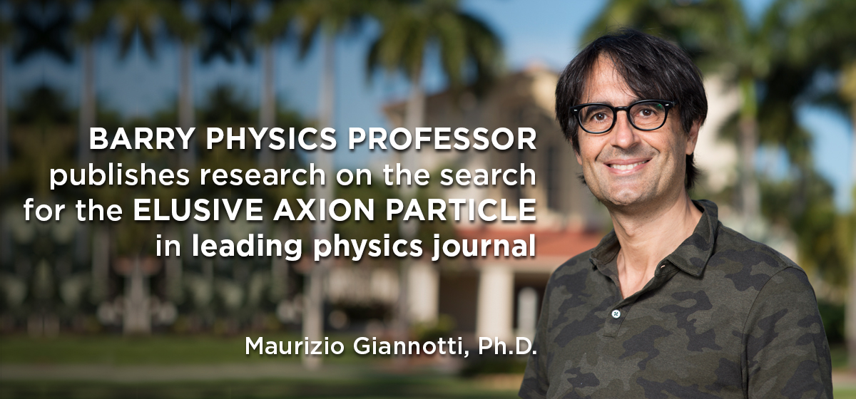 Barry physics professor publishes research on the search for the elusive axion particle in leading physics journal