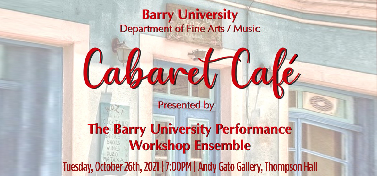 Join the Department of Fine Arts at Cabaret Cafe!