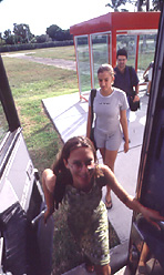 Students boarding the complimentary shuttle